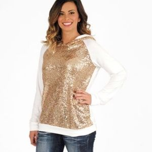 Denim, Boots, and Bling Tops - Gold Sequined Hoodie